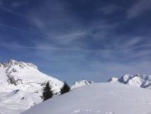 Winterwonderland lech提洛尔奥地利 免版税库存照片