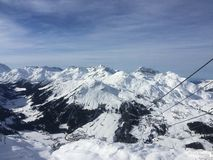 Winterwonderland lech Tirol Austria. Ski tourism friends fun Stock Photography