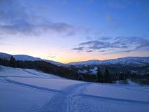 Winterwonderland. Skiing a late night in Norway Royalty Free Stock Photo