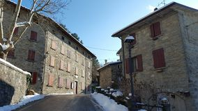 Winterwonderland. Small village in the mountains close to Bologna Royalty Free Stock Image
