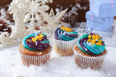 Wintery cupcakes on a snow background Stock Images