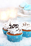 Wintery cupcakes to celebrate New Year 2012. Chocolate cupcakes with vanilla icing and a 2012 topper Royalty Free Stock Photos