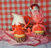 Wintery cupcakes to celebrate New Year Royalty Free Stock Photos