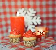 Wintery cupcakes to celebrate New Year Stock Photography