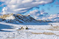 Wintery day at the beach. Snow covers the beach and dunes at plum island Royalty Free Stock Image