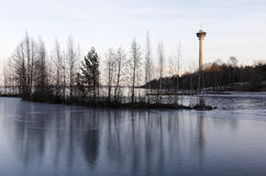 Wintery day view with Näsinneula Royalty Free Stock Photos