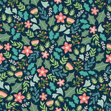 Wintery floral pattern Stock Image