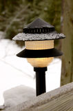 Wintery lamp. An ornamental lamp with a sprinkle of snow cover Royalty Free Stock Photo