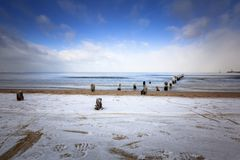 Wintery landscape of Baltic Sea. In Gdansk, Poland Stock Photo