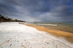 Wintery landscape of Baltic Sea. In Gdansk, Poland Stock Images