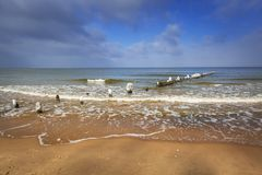 Wintery landscape of Baltic Sea. In Gdansk, Poland Stock Image
