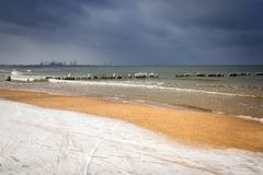 Wintery landscape of Baltic Sea. In Gdansk, Poland Stock Photography