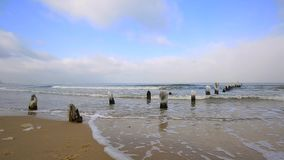 Wintery landscape of Baltic Sea in Poland. Wintery landscape of Baltic Sea in Gdansk, Poland stock footage