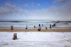 Wintery landscape of Baltic Sea. In Gdansk, Poland Royalty Free Stock Photos