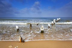 Wintery landscape of Baltic Sea. In Gdansk, Poland Royalty Free Stock Images