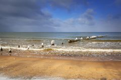 Wintery landscape of Baltic Sea. In Gdansk, Poland Royalty Free Stock Photo