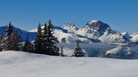 Wintery landscape in Gstaad Stock Photos