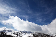 Wintery landscape with a ski resort Stock Image