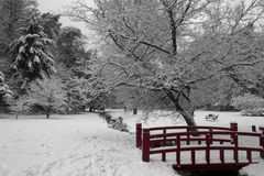 Wintery scene with red bridge Stock Photography