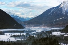 Wintery valley in Tirol, Austrian Alps Stock Image