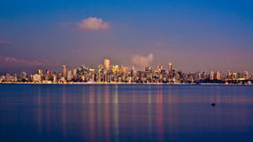 Wintery Vancouver Skyline at Dusk Royalty Free Stock Photos