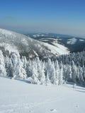 Winterzeit in den tschechischen Bergen Stockbild