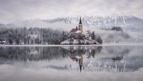 Winterzeitversehengesamtlänge von berühmter ausgebluteter Insel am See geblutet mit ausgeblutetem Schloss und Alpen im Hintergrun stock footage