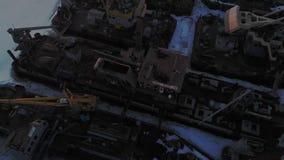 Winterzustand von logistischen Schiffen, Luftschießen stock video