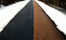 Winther Road - Black and Red. Winther Road with snow, diverted in Black & Red. Denmark Stock Image