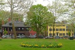 Winthrop fyrkant i Charlestown, Boston, MOR, USA Arkivbilder
