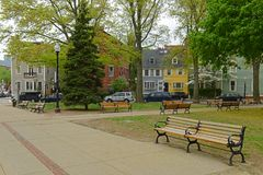 Winthrop fyrkant i Charlestown, Boston, MOR, USA Arkivfoto