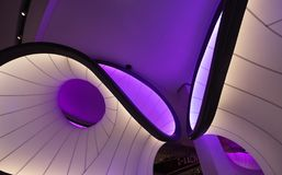 Winton Mathematics Gallery at the Science Museum, London, UK, designed by Zaha Hadid Architects, inspired by mathematical models. Close up of the Winton royalty free stock images
