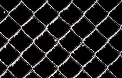 Wintry abstraction. Detail of the freezing fence royalty free stock photos