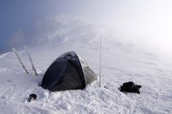 Wintry camping on mountains Royalty Free Stock Photo