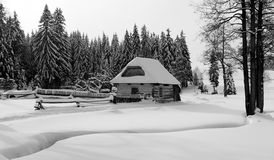 Wintry country with cottage. Stream, wood and flat country snow covered Royalty Free Stock Images