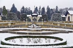 Wintry courtyard Royalty Free Stock Images