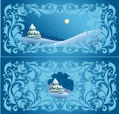 Wintry design. Wintry landscape with the pattern around Royalty Free Stock Image