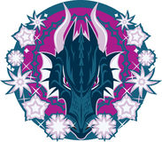 Wintry Dragon Emblem. Circular blue dragon design with winter theme Royalty Free Stock Images