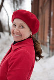 Wintry elegant mature lady Stock Photography