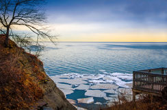 Wintry Lake Erie Overlook With Ice Floes. Sunrise scene of wintry Lake Erie with overlook and ice floes Royalty Free Stock Photography
