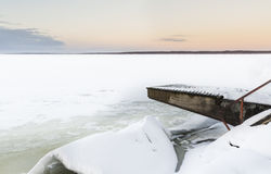 Wintry lake landscape. With landing stage Stock Image