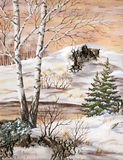 Wintry landscape. Handmade, drawing distemper on a birch bark: winter siberian landscape Stock Image