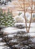 Wintry landscape. Handmade, drawing distemper on a birch bark: winter siberian landscape Stock Photography