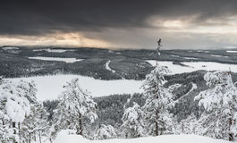 Wintry landscape from Finland. With dramatic clouds Royalty Free Stock Images