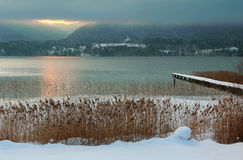 Wintry landscape - lake tegernsee at sunset Stock Photo