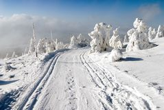 Wintry landscape with modified cross country skiing way Stock Photography