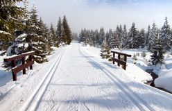 Wintry landscape with modified cross country skiing way Stock Photo