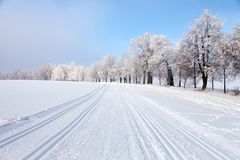 Wintry landscape with modified cross country skiing way Stock Image
