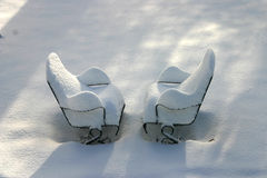 Wintry Lawn Chairs Royalty Free Stock Images