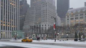 Wintry Morning Establishing Shot Businesses on 5th Avenue in Manhattan. 7997 NEW YORK - Circa December, 2016 - A morning wintry establishing shot of traffic and stock footage